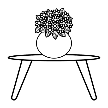 Center table with cute vase and flowers decorative vector linear illustration design