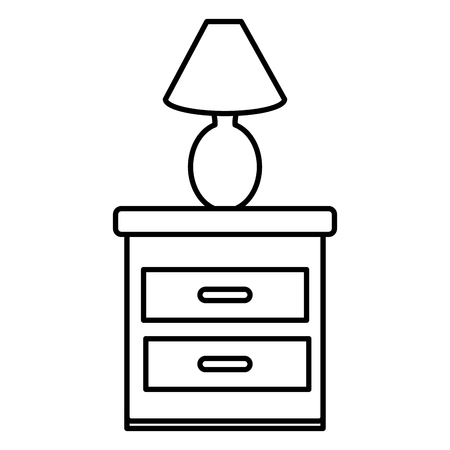 drawer bedroom with lamp vector illustration design