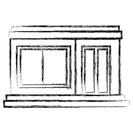 house front facade icon vector illustration design Illusztráció