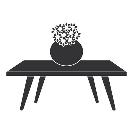 Wohnzimmer Tisch mit niedlichen Vase und Blumen dekorative Vektor-Illustration Design Vektorgrafik