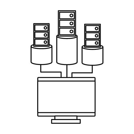 Computer and database icon image vector llustration design black line