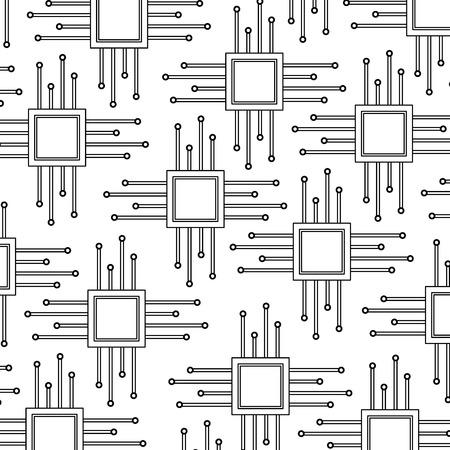 cpu chip pattern image vector llustration design  black line