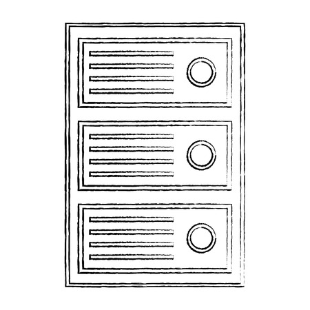 cpu tower icon image vector llustration design  black sketch line