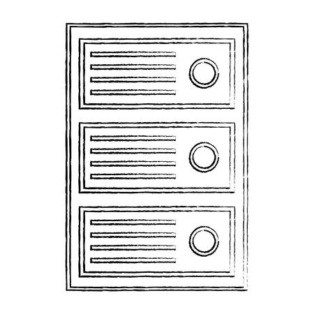 cpu tower icon image vector llustration design  black sketch line