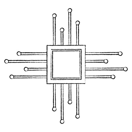 cpu chip icon image vector llustration design  black sketch line