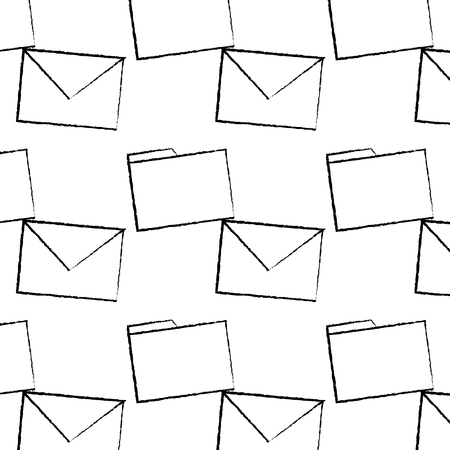 message envelope file folder icon image vector llustration design  black sketch line Stock Illustratie