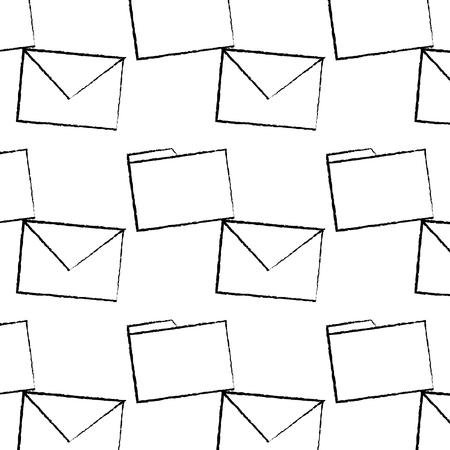 message envelope file folder icon image vector llustration design  black sketch line Illustration