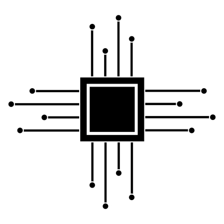 Motherboard circuit microprocessor chip icon Illustration