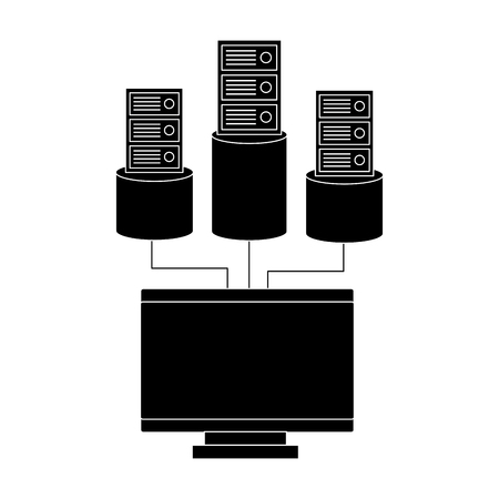 monitor computer database storage technology vector illustration Archivio Fotografico - 95480751