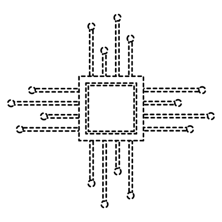 motherboard circuit microprocessor chip technolgy vector illustration pictogram design