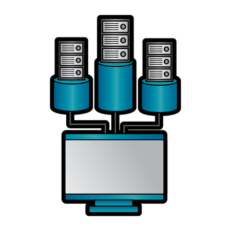 computer and database icon image vector llustration design