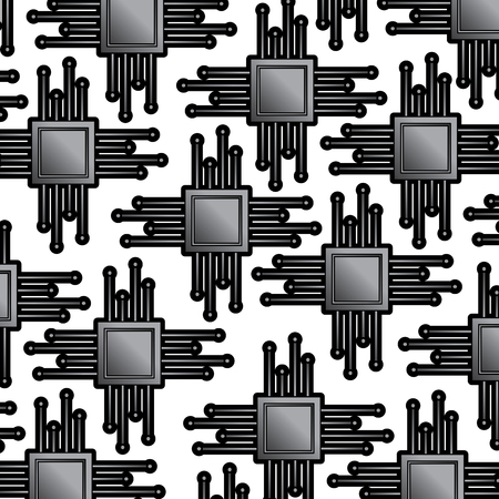 cpu chip pattern image vector llustration design