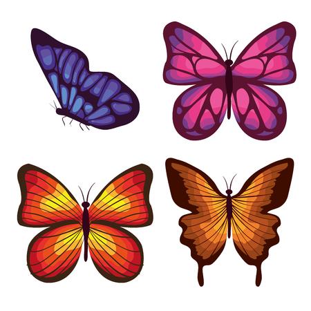 美しい蝶フライングセットベクターイラストデザイン