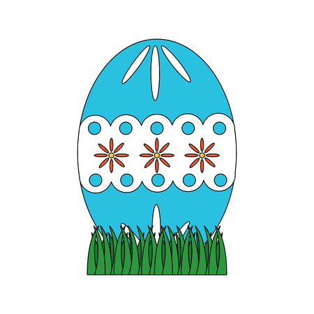 easter decorated egg icon image vector illustration design