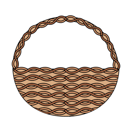 wicker basket icon image vector illustration design