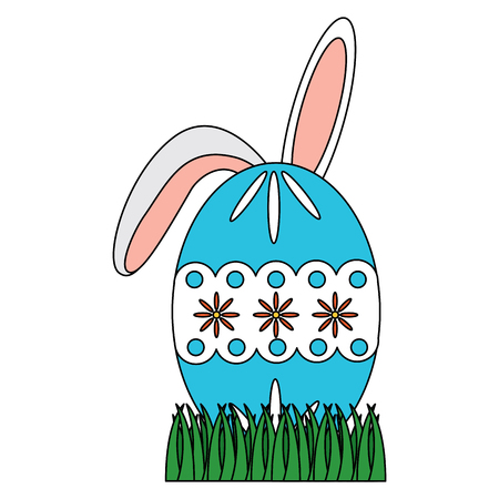 easter decorated egg with bunny icon image vector illustration design