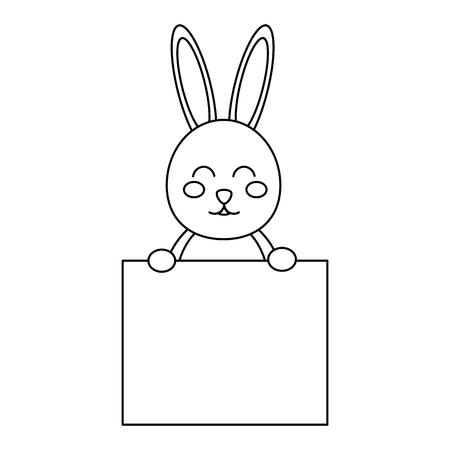 rabbit or bunny holding sign icon image vector illustration design  black line Illustration