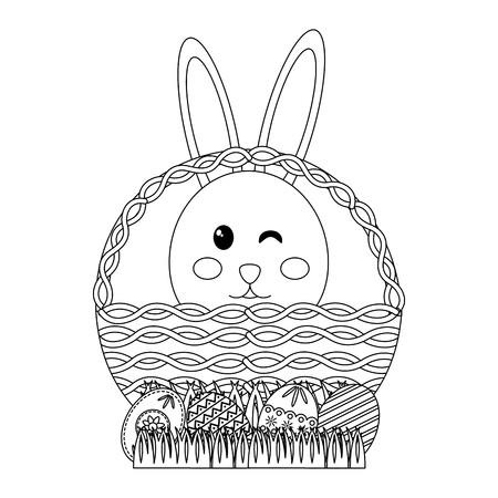 easter face rabbit in basket and decorative eggs vector illustration Ilustrace