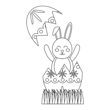 easter bunny celebrate sitting in the broken egg decoration vector illustration Archivio Fotografico - 95481841