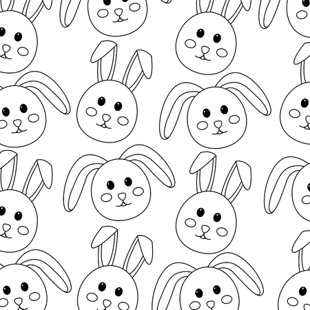 seamless pattern decoration face rabbit image vector illustration