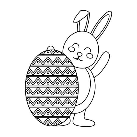 大きな卵ベクトルのイラストの後ろにウサギとイースターのお祝い  イラスト・ベクター素材