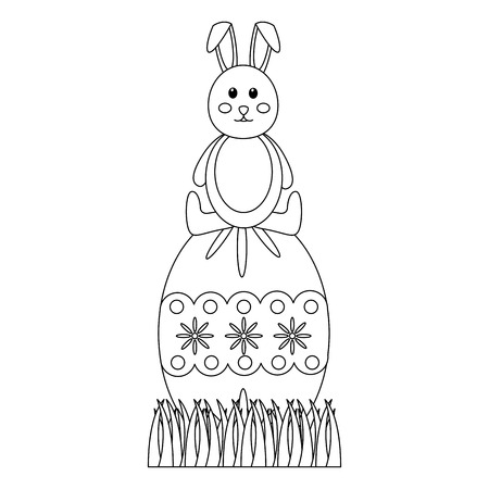 cute easter rabbit sitting on a big decorated egg vector illustration Stok Fotoğraf - 95482588