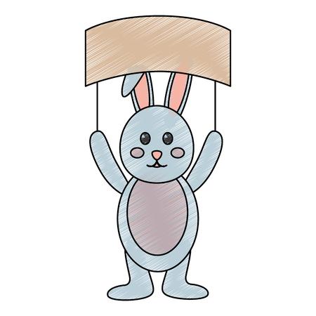 cute bunny holding placard empty on his head vector illustration
