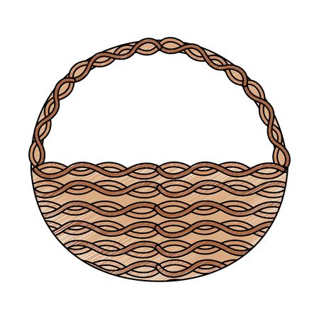 Cesta de mimbre asa redonda decoración vacía ilustración vectorial Foto de archivo - 95484399