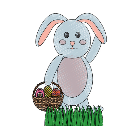 cute rabbit with a basket of easter eggs on grass vector illustration