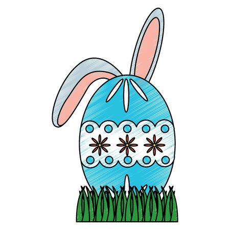 easter egg with rabbit ears on grass vector illustration