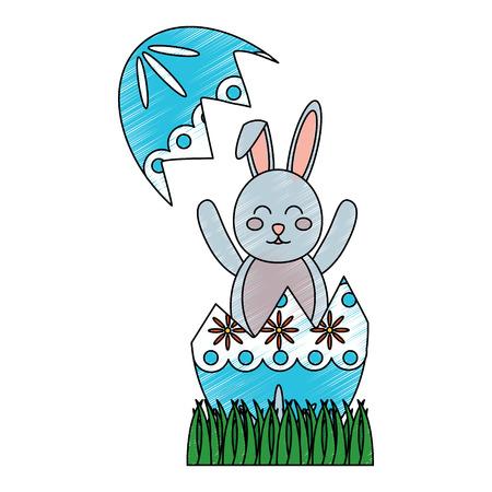 easter bunny celebrate sitting in the broken egg decoration vector illustration Archivio Fotografico - 95485652