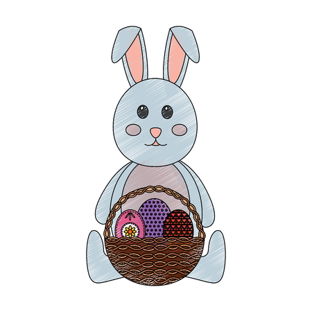 cute rabbit sitting with basket and easter eggs vector illustration