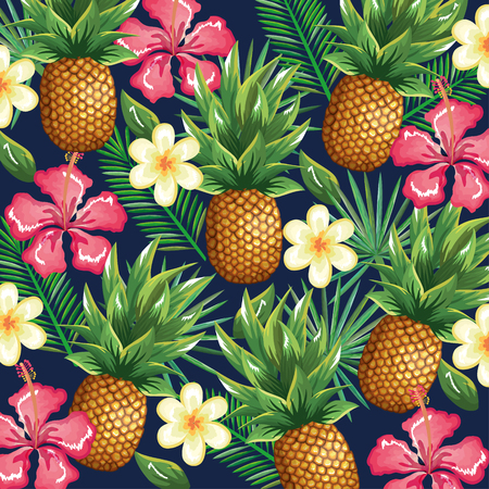 tropical garden with pineapple vector illustration design fruits, leaves and flowers, summer and exotic concept