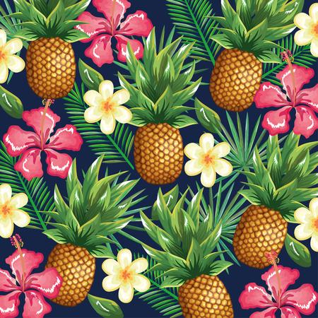 Tropische tuin met ananas vector illustratie ontwerp fruit, bladeren en bloemen, zomer en exotisch concept Stockfoto - 95484620