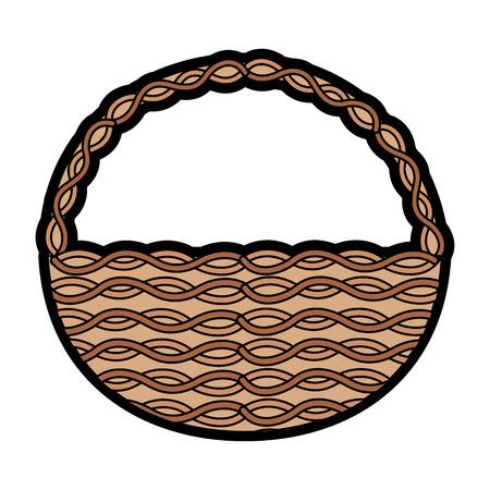 wicker basket icon image vector illustration design
