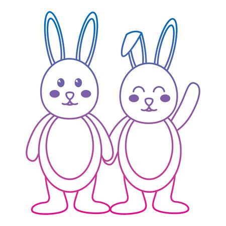 rabbit or bunny wink icon image vector illustration design  blue to purple line Stock Vector - 95485153