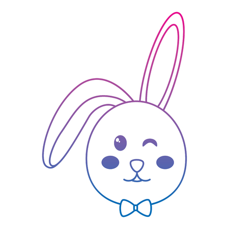 rabbit or bunny wink icon image vector illustration design  blue to purple line Illustration