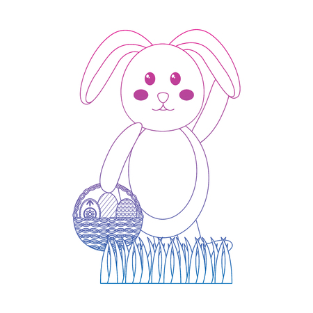 cute rabbit with a basket of easter eggs on grass vector illustration color line gradient