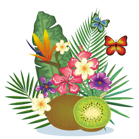 tropical garden with kiwi vector illustration design fruits, leaves and flowers, summer and exotic concept Illustration