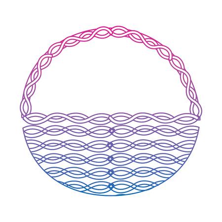 wicker basket handle round empty decoration vector illustration color line gradient Illustration