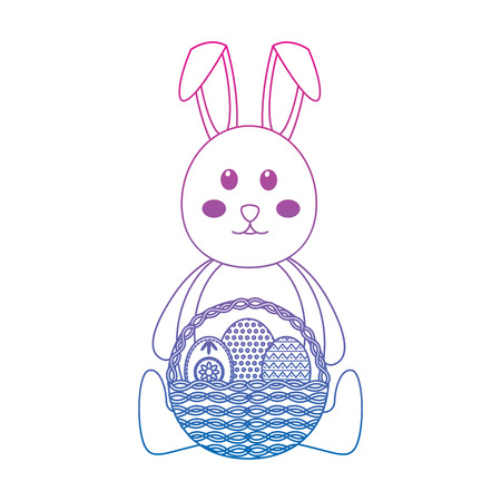 cute rabbit sitting with basket and easter eggs vector illustration color line gradient