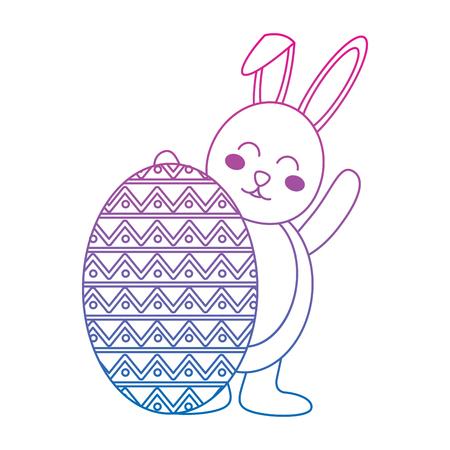 大きな卵ベクトルイラストの色の線のグラデーションの後ろにウサギとイースターのお祝い
