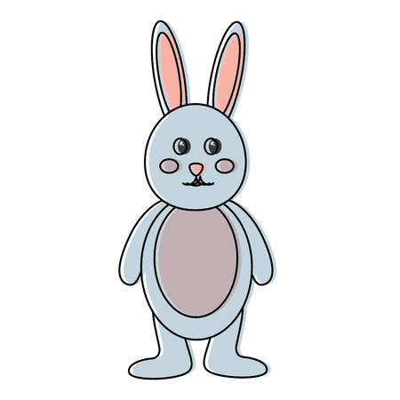 cute standing little bunny adorable cartoon vector illustration