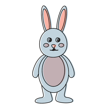 cute standing little bunny adorable cartoon vector illustration