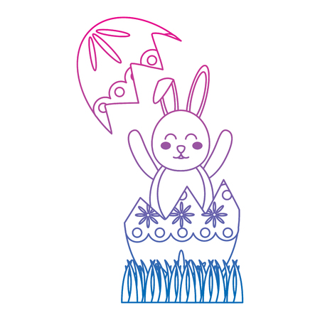 easter bunny celebrate in the broken egg decoration vector illustration color line gradient Archivio Fotografico - 95487544