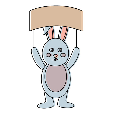 cute bunny holding placard empty on his head vector illustration