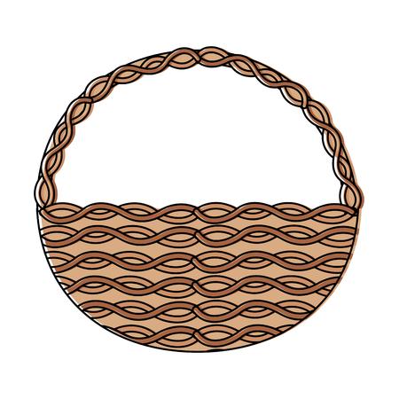 Cesta de mimbre asa redonda decoración vacía ilustración vectorial Foto de archivo - 95487373