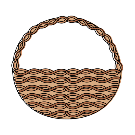 wicker basket handle round empty decoration vector illustration Illustration