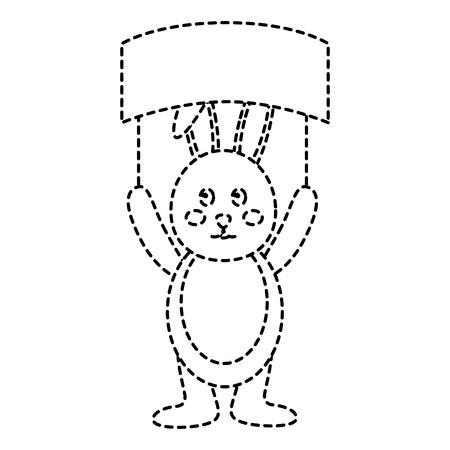 cute bunny holding placard empty on his head vector illustration sticker design