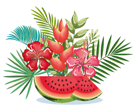 tropical garden with watermelon vector illustration design fruits, leaves and flowers, summer and exotic concept